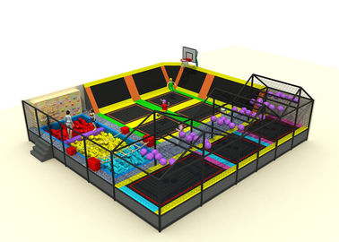 Commercial Soft Play Trampoline , Galvanized Steel Pipe Big Trampoline Park