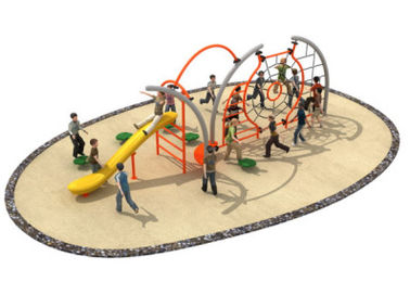 China 710*350*250cm Rope Climbing Playground Equipment Middle Size With Slide TQ-TN504 factory